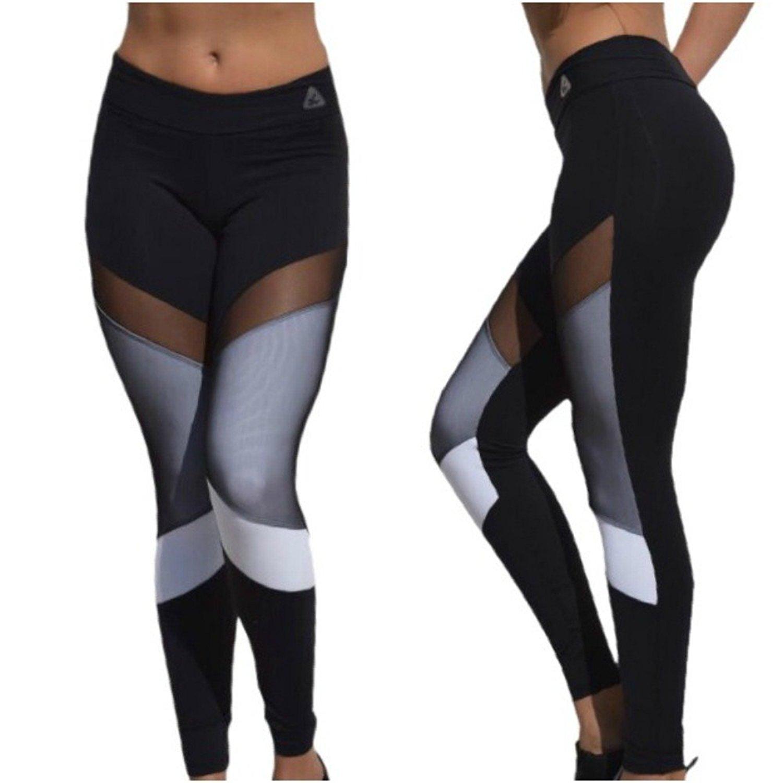 0fdfae97f Get Quotations · Up Vibe Women s Yoga Sheer Mesh Panels Leggings Black and  White One Size