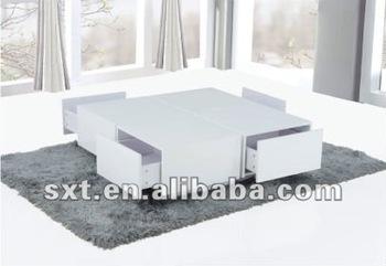 Modern White High Gloss Wooden Center Table Design