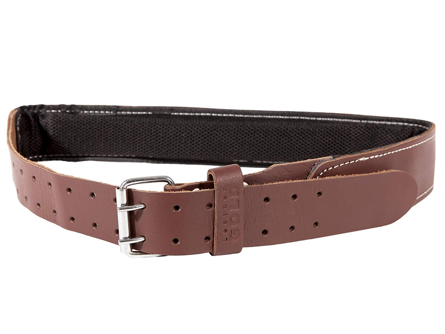 Leather Gold Padded Tool Belt, 2 Inch Wide | Genuine Grain Leather Belt with Double Prong Buckle and Two Hole Rows | Comfortable Mesh and Foam Padding | Built Tough For Pouches and Construction Tools