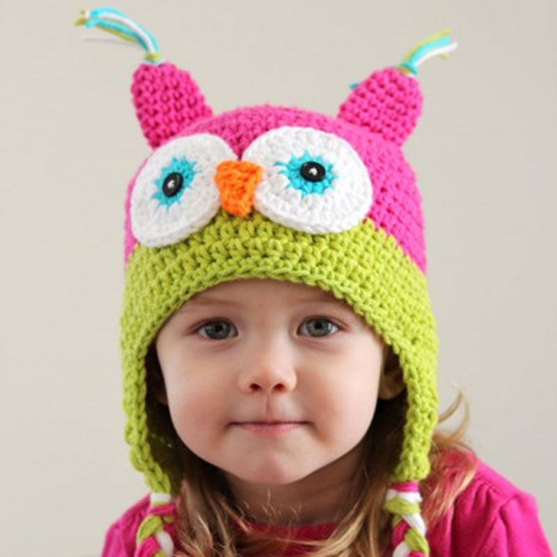 Hand-knit baby <strong>hat</strong> acrylic version of super-affordable owl children's handmade <strong>hat</strong>