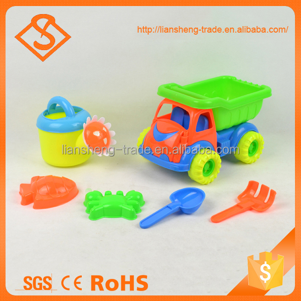Colorful preschool 6 pieces children garden sand beach tool toy with sand kettle