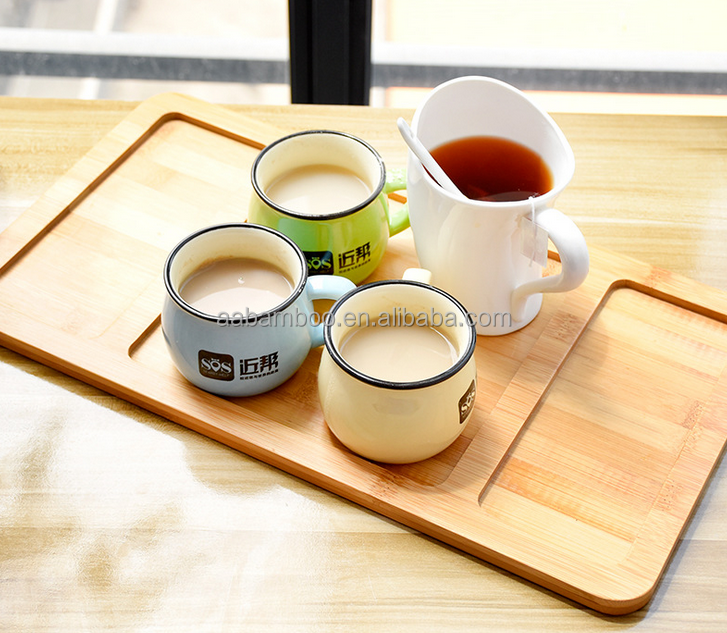 breakfast bamboo wooden serving tray / bamboo plate