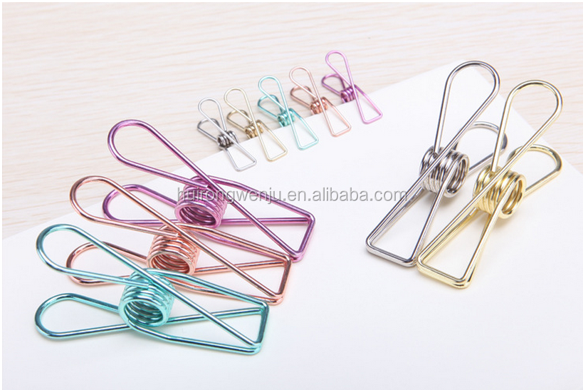 Office and School Binder Metal Clips Simple Retro Hollow Colorful Elliot Folder Clips Hand Account Bills, Notes