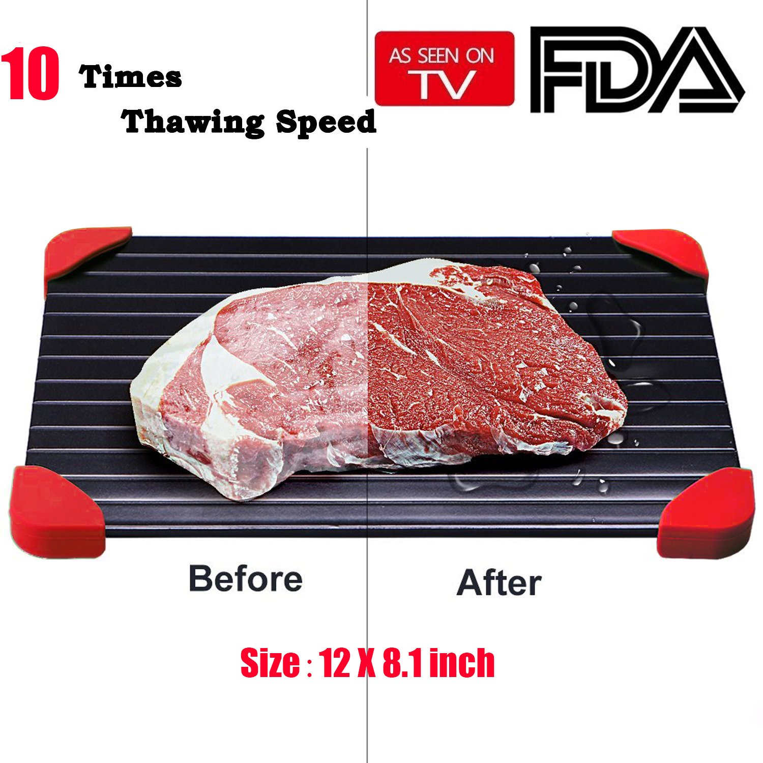 """Uardo Fast Defrosting Tray with Red Silicone Border,10 Times Thawing Speed,Meat Thawing Tray,Thaws Frozen Food Faster The Quicker and Safest Way to Defrost Steak or Frozen Food Quickly(12"""" x 8.1"""")"""