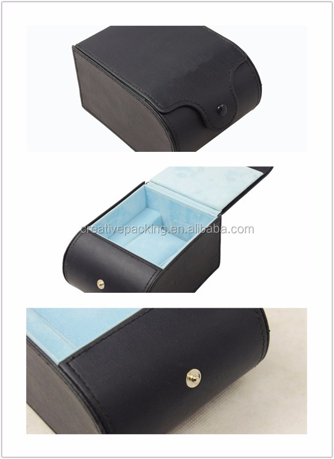 Simple Design Pu Leather Mens Black Travel Watch Box