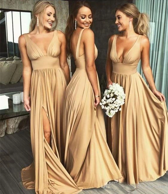L2104 Gold Bridesmaid Dresses Blue Jersey