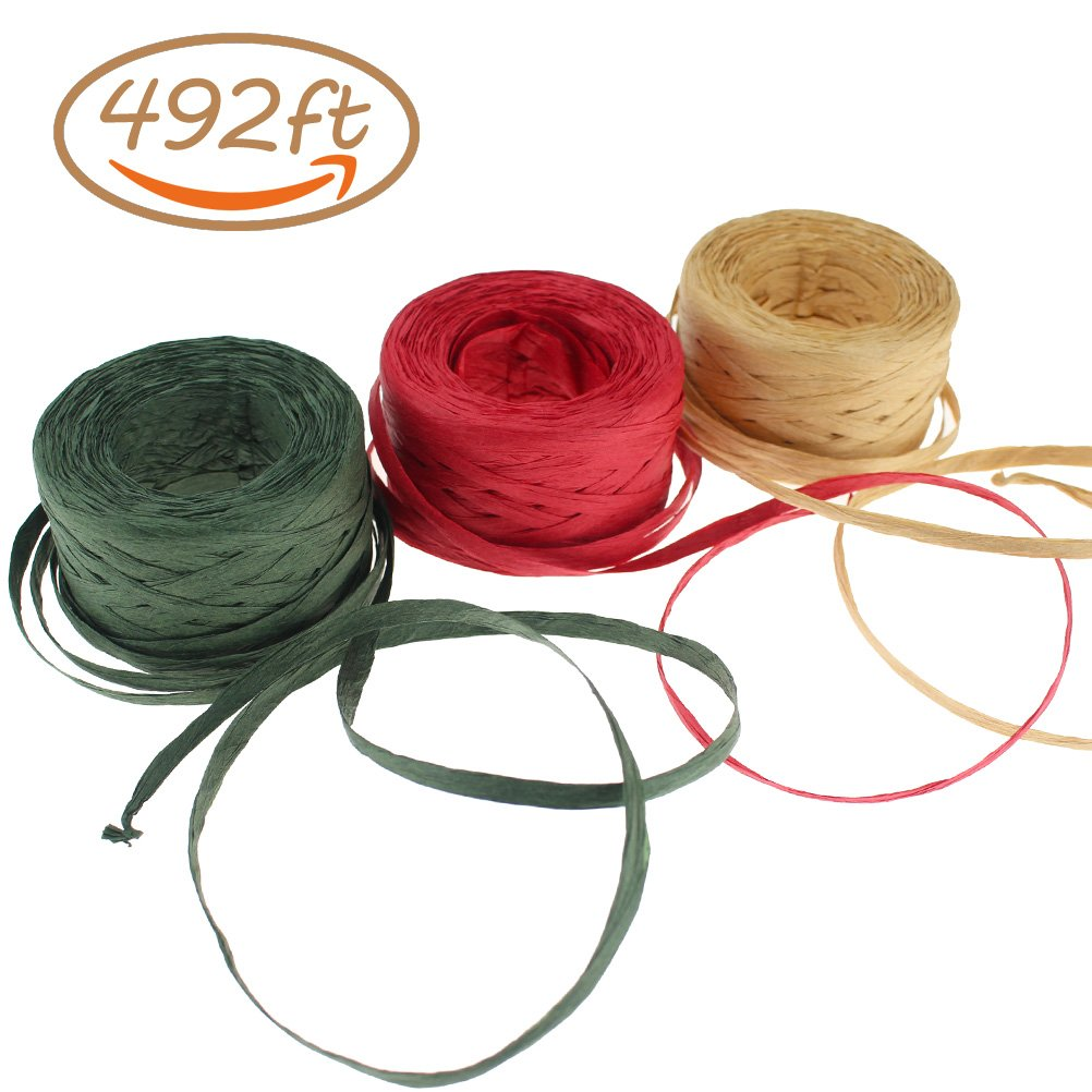 "CREATRILL 3 Rolls Red Green Kraft 1/4"" by 492 Feet Raffia Ribbon/String, 164Feet Each Roll, Packing Paper Twine for Christmas"