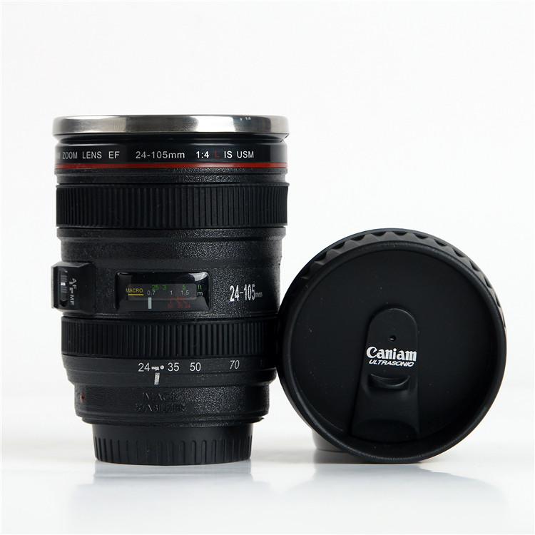 Hot Selling Camera Lens Coffee Mug with Cap 5th Generation