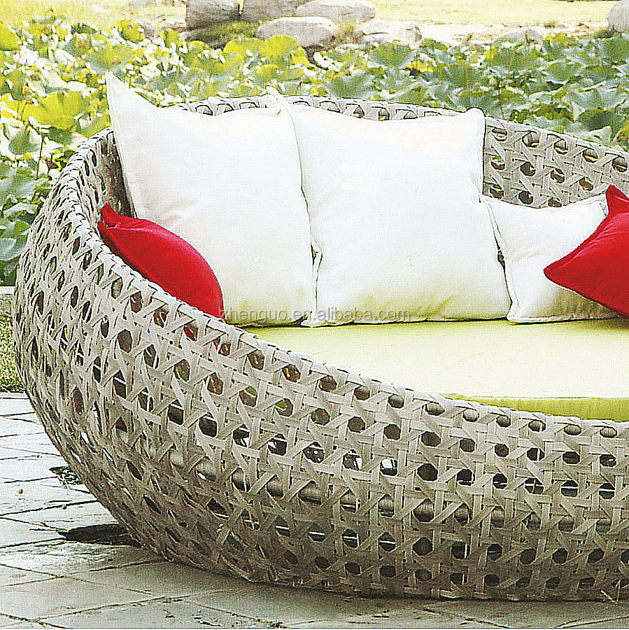 Fashion style luxury rattan/wicker leisure round sun lounge chair