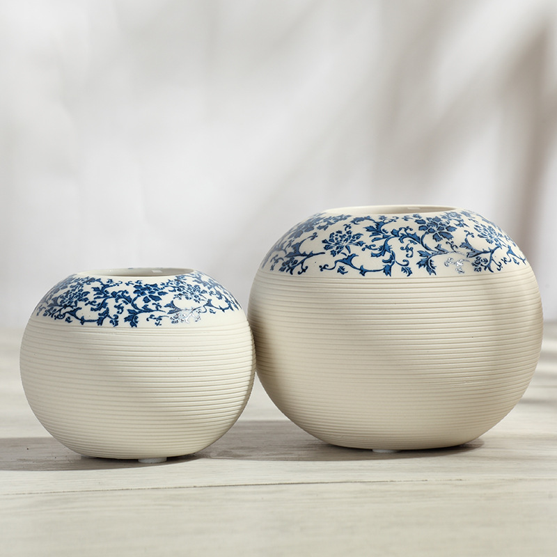Porcelain Blue and White Round Vase Living Room Modern Minimalist Style Ceramic Decoration Flowerpot Vases of Flower Home Decor