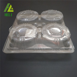 4 compartments disposable clear plastic cookie tray