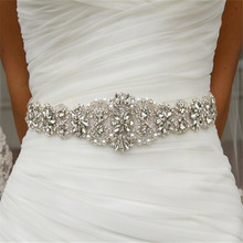 Costume Bridal Dress Embellishment rhinestone applique belt crystal pearl belt