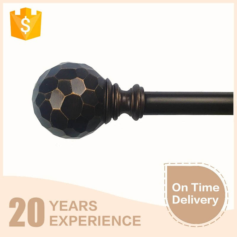 Football shape finial 28mm wrought iron curtain rod wholesale