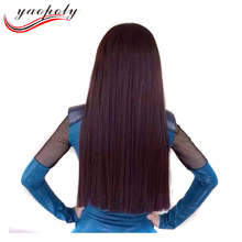 Korean fashion neat bang hair wig long straight high tempreture fiber synthetic hair wig neat bang front lace party wig