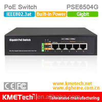 5 port 10/100/1000Mbps PoE Switch PSE6504G Support OEM 30W 802.3at for surveillance IP camera hot