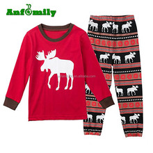 Family Matching Christmas Stripes Deer Pajamas for Kids Mon and Dad Pjs Sets Sleepwear