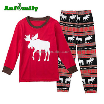 7237c2b26 La familia de Navidad rayas ciervos pijamas para niños Mon y papá pijamas  conjuntos ropa de