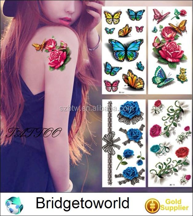 9227234e5 New Fashion Flower Temporary Tattoos Sticker Lotus Cherry Blossoms Animal Flash  Tattoo for Arm Shoulders Chest Back Leg