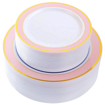 White With Pink and Gold Rim Plastic Plates