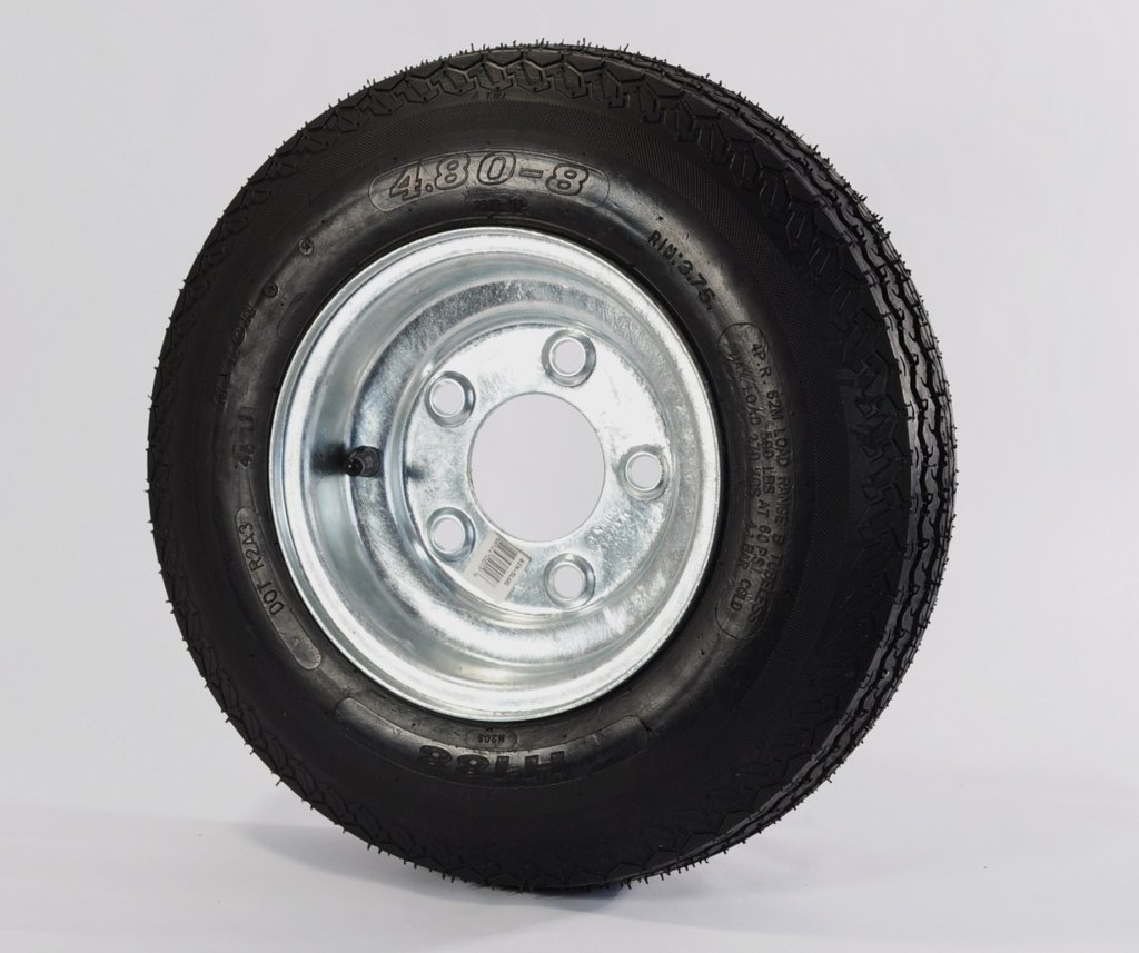 "eCustomRim 02C Trailer Tire + Rim 4.80-8 480-8 4.80X8 8"" Heavy Duty Load Range C Tire 5 Lug Hole Bolt Wheel Galvanized"