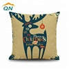 custom blank linen/cotton fabric printed logo Christmas decorative pillow throw cushion cover
