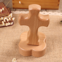 Natural Custom Solid Wood Decorative Cross with Holder Hone Dcoration Craft