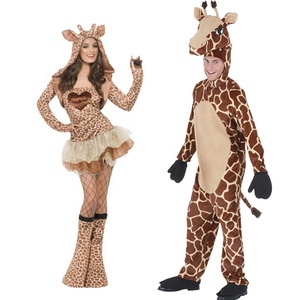 Wholesale Carnival Party Couple Animal Costume Cosplay Fancy Dress Cartoon Character Adult Long Neck Giraffe Mascot Costume