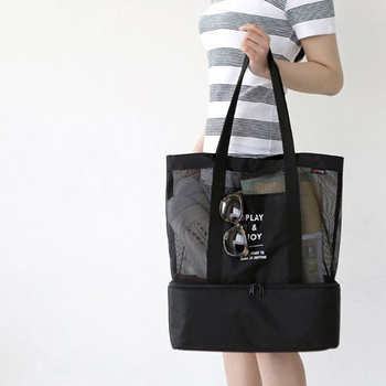 Cheap custom nylon woman black summer beach bag