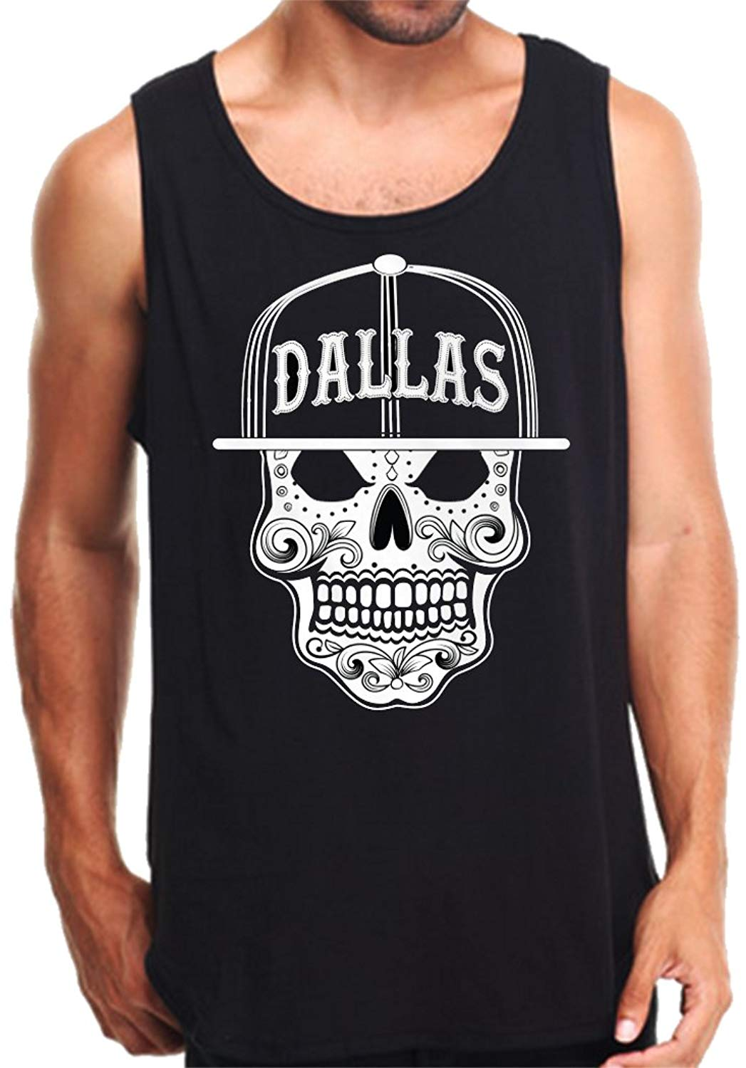 CaliDesign Men's Dallas Sugar Skull Tank Top Texas
