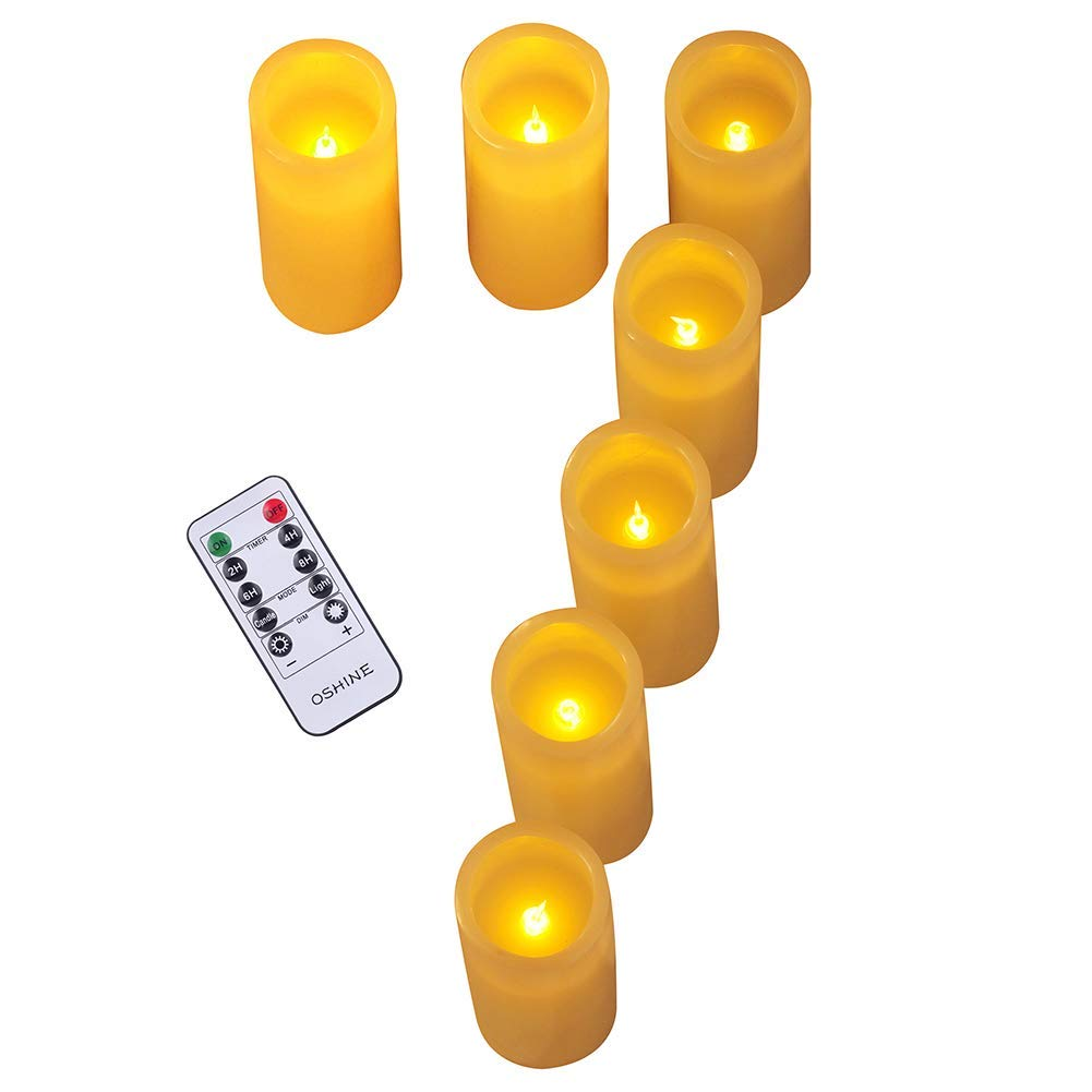 """Flameless Candle,LED Candles Set of 7,(7"""" H,2.2"""" D) Flickering flame with Remote and Timer Real Wax Pillar Battery Candle   Bathroom, Kitchen, Home Decoration   10-Key Control   Reusable(Lucky 7)"""