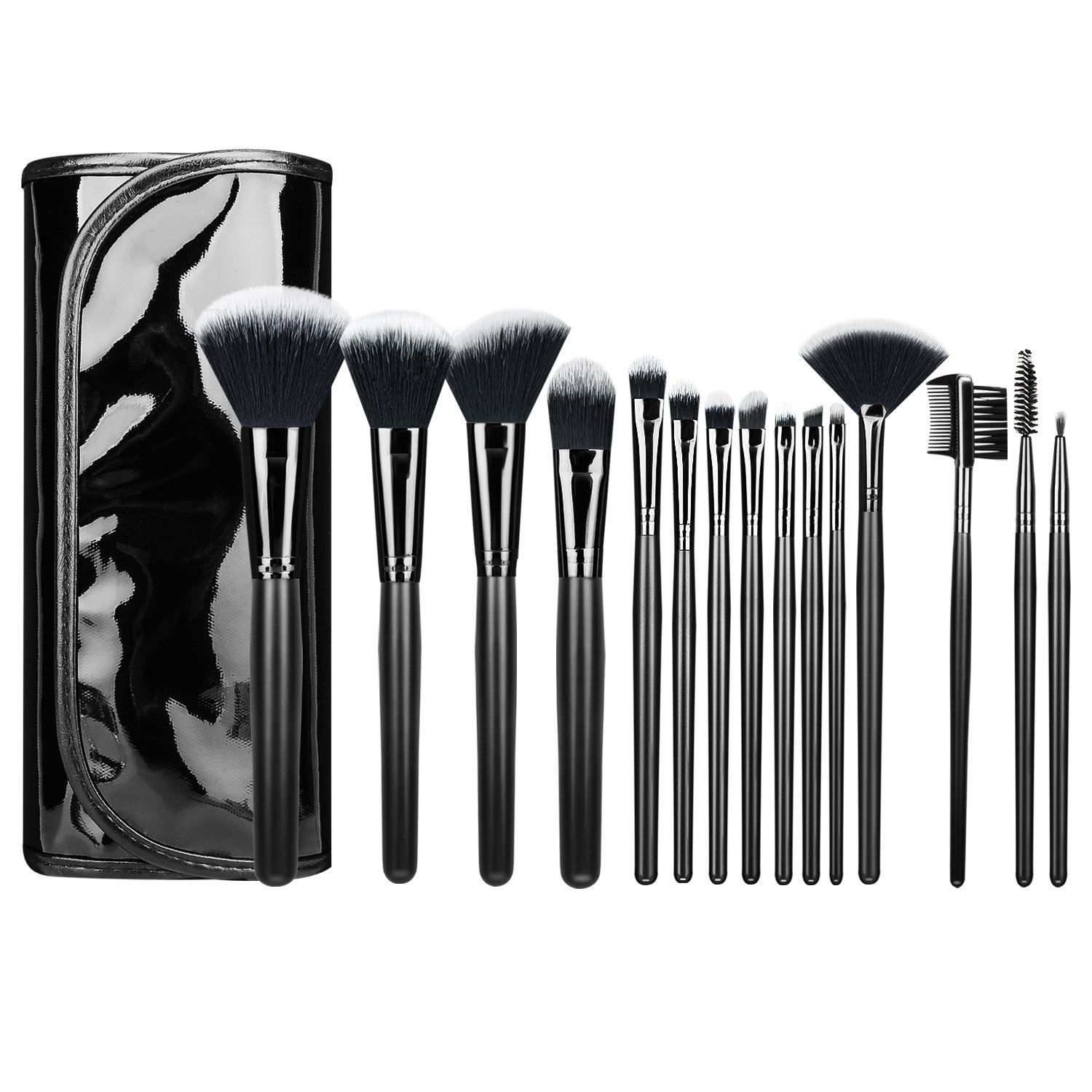Luxspire 15PCS Professional Makeup Brush, Make up Brushes Set Powder Brush Eyelash Brush Eye Brow Brush Comestic Brush Set Makeup Tool with PU Leather Bag, Black
