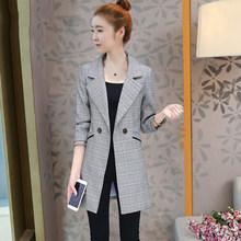 Женский блейзер Vadim, клетчатый пиджак в Корейском стиле, Повседневная Верхняя одежда с узкими рукавами, весна-осень 2018, No437(Китай)