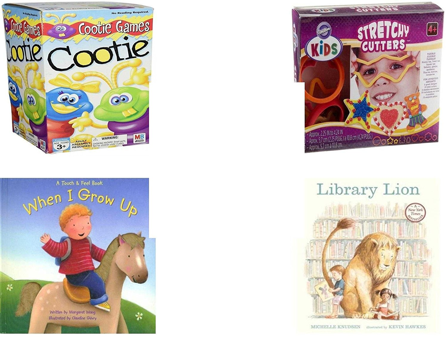 Children's Gift Bundle - Ages 3-5 [5 Piece] - Cootie Game - Wilton Kids Stretchy Silicone Cookie Cutter Set, 10-Piece - Ty Beanie Baby - Beani the Gray Cat - When I Grow Up Hardcover Book - Library