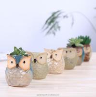 Mini ceramic flower pots wholesale owl planters
