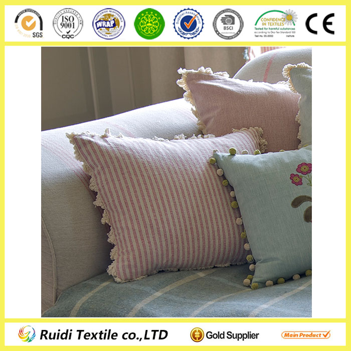Rose-And-Ivory Stripe Plain Cotton Cushion Pillow
