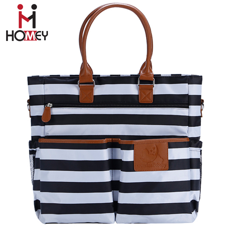 2017 Promotional fabric white black stripe adult leather handle mummy baby diaper bag Changing Nappy Bag