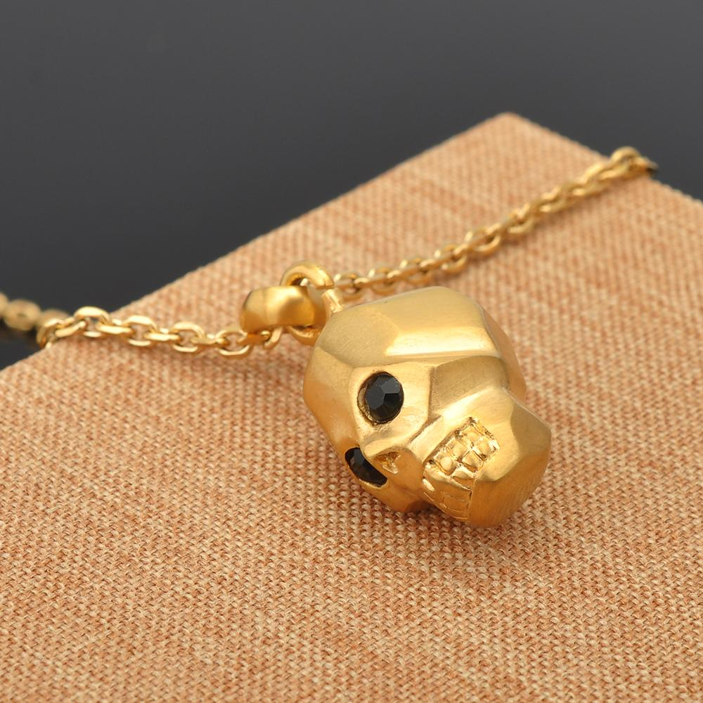 Wholesale Men Accessories Zircon Gold Plated Pendant Stainless Steel Skull Necklace