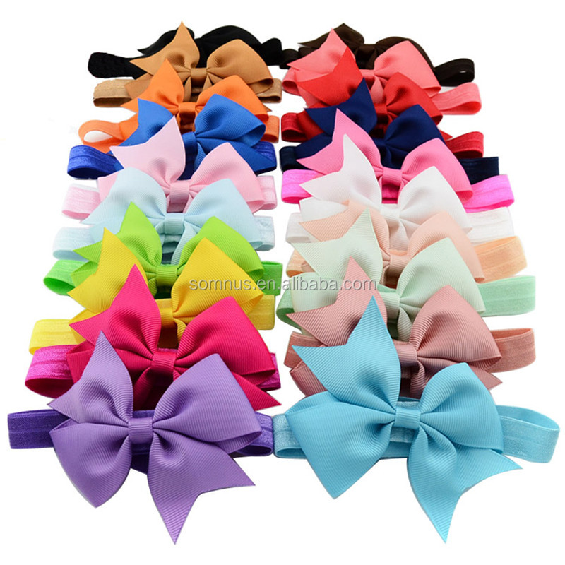 20 Colors Baby Bow Hair Accessories Fashion Forked Tail Headwear Elastic Headband