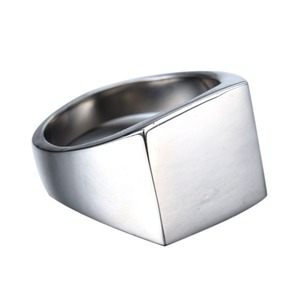 Wholesale Custom Stainless Steel Jewelry Mens Silver Plated Blank Signet Ring