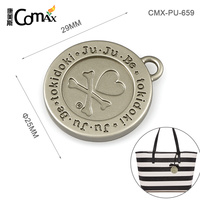 Round Engraved Metal Logo Tag For Bags