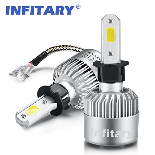 Infitary LED Headlight Bulbs H3 Conversion Kits Car LED Headlights 72W/Pair 6500K 8000LM Extremely Super Bright COB Chips-3 Year Warrenty