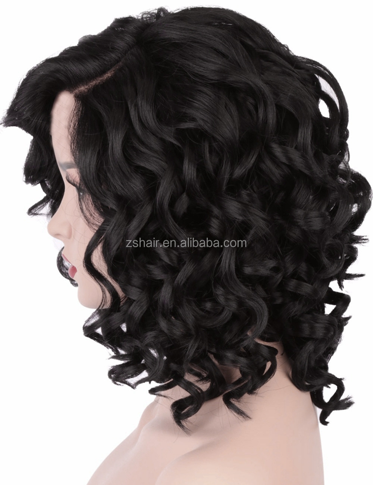 2018 Fashion African Black Women 34cm Short Italian Wave Full Hair Wig