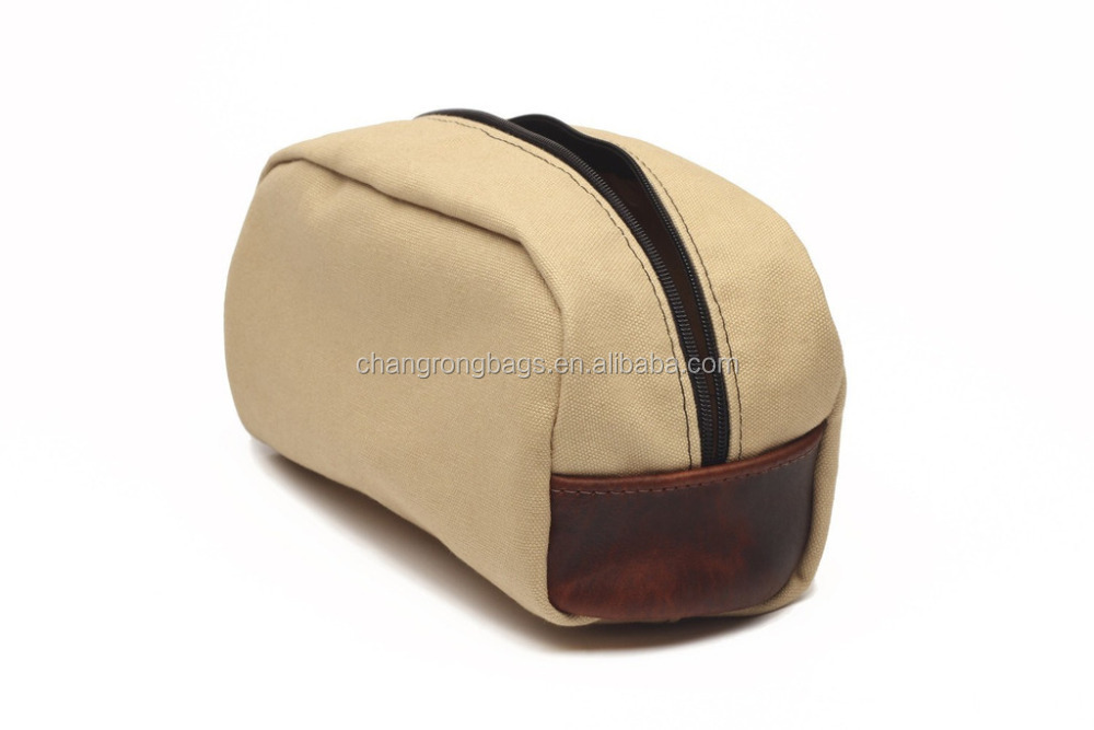 Good Quality and Vintage Canvas and Leather Dopp Kit/Travel Pouch /Toiletry Bag