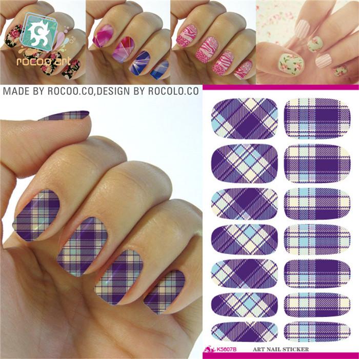K5607 Water Transfer Foils Nail Art Sticker Minx Manicure Decoration Tools Purple Design Nail Wraps Nail