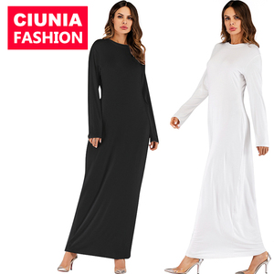 9099# Women Elastic O Neck Top Turkish Hijab Wholesale Bodycon Muslim Dresses Arabic Dubai Abaya Islamic Clothing