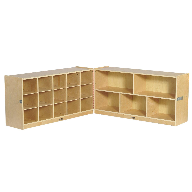 "ECR4Kids Birch Fold & Lock Storage Cabinet with 5 Cubbies/15 Trays, 24""H, Natural"