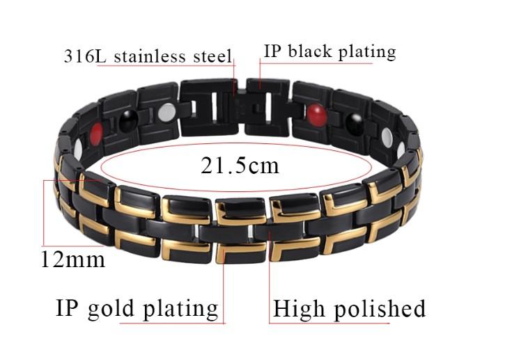 Hot sale health stainless steel men magnetic therapy bracelet anti-radiation ion power bio energy germanium health bracelet