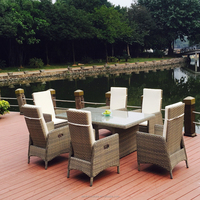 Outdoor round rattan wricker Pneumatic Chair Dinning table sets 1.8m dinning outdoor table chair sets