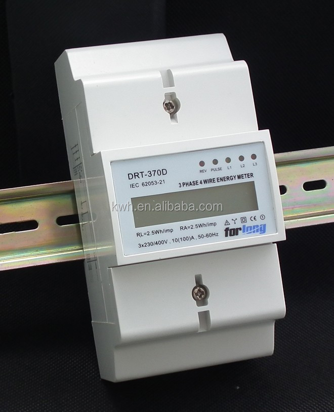 LCD display Three phase four wire DIN Rail kwh energy meter
