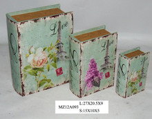 Elegant decorative flowers on blue style upright wooden book box